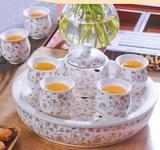 8头白金双层杯陶瓷茶盘茶具套装