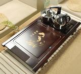 百分百实木连体式茶海套装四合一电磁炉抽水功夫茶具茶盘