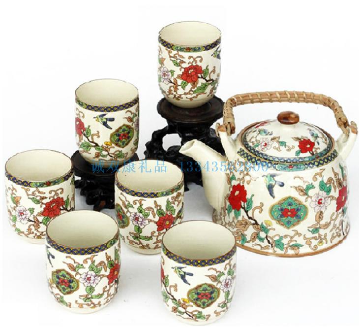 7头釉中彩大提梁壶陶瓷茶具套装
